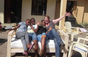 Connie Naber in Africa with her kids!