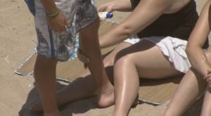 sunscreen on skin
